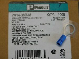 1000 Panduit Pv14 38r m 3 8 Stud Blue Insulated Ring Terminals 18 14 Awg