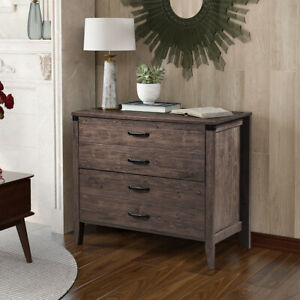 Wood Filing Cabinet Home Office Entryway Lateral File Cabinet W 2 Drawers Brown