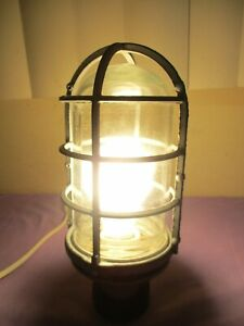 Vintage Industrial Pc Co Explosion Proof Clear Glass Globe Cage Light Works