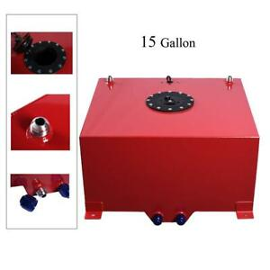 15 Gallon Universal Aluminum Racing Drift Fuel Cell Tank And Level Sender Red