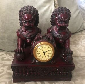 Fu Foo Dog Guardian Lion Red Figurines Statues Clock Rare
