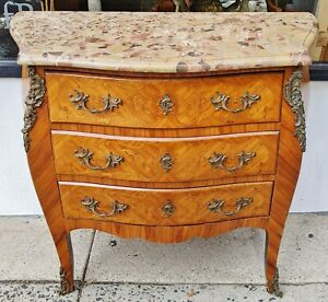 Antique 19th C Louis Xv French Inlaid Bronze Marble Top Commode Dresser Chest