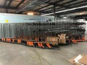 Commercial Rolling Clothing Garment Z rack With Nesting Base Orange