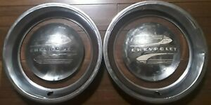 1941 1948 Chevrolet Baby Moon Dog Dish Hubcaps W Beauty Rings Oem