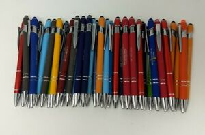 40ct Misprint overstock Lot Alpha Metal Soft Touch Stylus Click Pen Mixed Colors