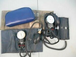 2 Vintage Blood Pressure Gauges Tycos Marshall With Cuffs