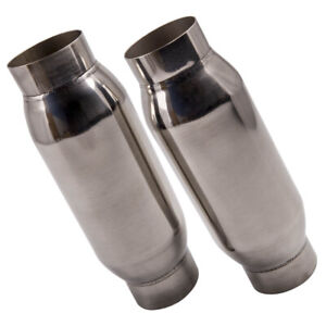 2pcs 3 Inlet Outlet Universal Performance Exhaust Mufflers Stainless Steel