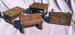 4 Antique C1850 S Small Carved Oak Wood Stool Retro Childs Stool 1 Needs Repair