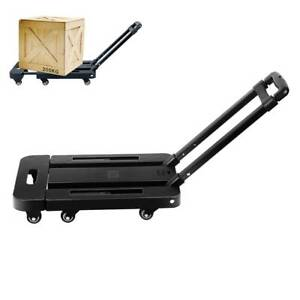 Folding Luggage Aluminium Cart Hand Truck Dolly Push Collapsible Trolley 6wheels