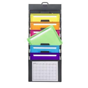 Wall Mount File Holder Organizer Office Folder Hanging Letter Storage 6 pocket