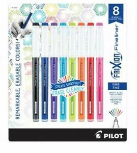 Pilot Frixion Fineliner Erasable Marker Pen Fine Point Assorted Colors 8 Count