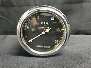 Vintage Stewart Warner 3 3 8 Tachometer Rpm Gauge Black And White Face