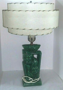 Vintage Mid Century Retro Green Pottery Table Lamp Cream Tan 3 Tier Shade