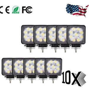 10x 27w Led Work Light Square 12v Off Road Flood Spot Lamp For Car Truck Suv 4wd