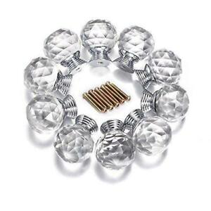 10 Clear Faceted Crystal Glass Cabinet Knobs Cupboard Drawer Dresser Door Chic