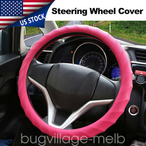 Bright Pink Universal Car Auto Steering Wheel Cover Protector Silicone Skidproof