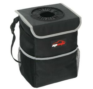 Waterproof Car Trash Can With Lid And Storage Pockets Black