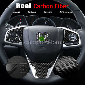 Real Carbon Fiber Steering Wheel Cover Trims Fit For Honda Civic 2016 2020