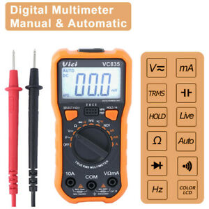 Handheld Back Light Lcd Digital Multimeter Auto Range True Rms Voltmeter Dmm Ac