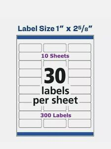 Avery Easy Peel Laser Address Labels 1 X 2 5 8 5160 10 Sheets 300 Labels