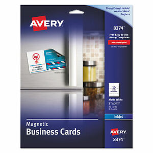Avery Magnetic Business Cards 2 X 3 1 2 White 10 sheet 30 pack 08374