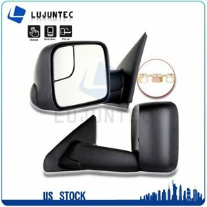 Pair For 2002 2008 Dodge Ram 1500 3500 Manual Flip Up Side View Towing Mirrors