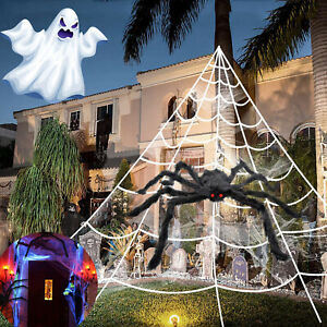 Huge Halloween Spider Giant Spider Web Decor Stretch Cobweb for Party Garden