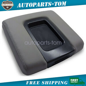 Fits 2014 2019 Chevrolet Silverado Vinyl Leather Console Lid Armrest Cover Gray