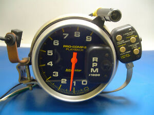 Auto Meter Tach With Shift Light 5 Monster Pro comp 2 Playback Tachometer Used