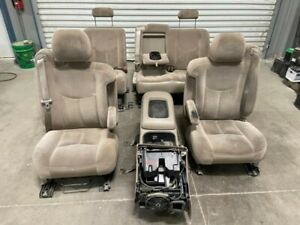 03 07 Silverado Sierra 52d Cloth Front Rear Crew Cab Seats W Center Console