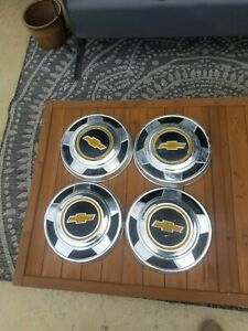 Vintage Chevrolet 73 87 Dog Dish Chevy Pick Up Truck 10 3 4 Hubcaps Set 4 Clean