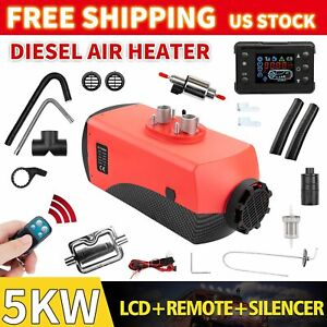 Air Diesel Fuel Heater 2 Vent 12v 5kw Lcd Switch 10l Tank For Truck Boat