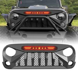 Mars Grille Front Guard For 07 18 Jeep Wrangler Jk Jku Abs W Red Star Drl