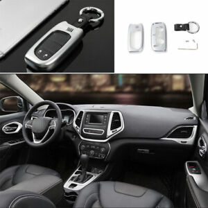 For Jeep Cherokee 2014 2020 Zinc Alloy Silver Smart Remote Key Fob Shell Cover