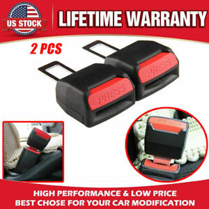 2x Car Auto Safety Seat Belt Buckle Extension Alarm Extender Black Universal