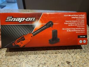 New Snap On 14 4 1 4 Drive Red Cordless Long Neck Ratchet Kit Ctr717w1