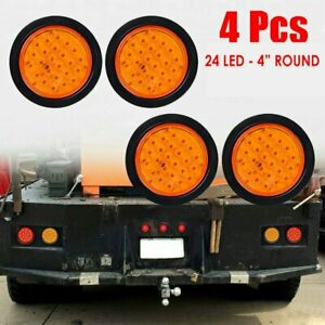 4pcs 24 Led Amber 4 Round Stop Tail Turn Signal Light Truck Tractor Trailer Bus
