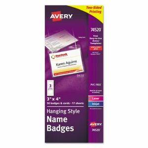 Avery Necklace style Badge Holder Top Load 4 X 3 We 50 box 74520