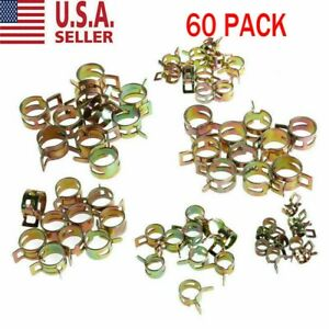 60x Spring Clips Fuel Hose Line Water Pipe Air Tube Clamps 7 10 11 14 16 17mm