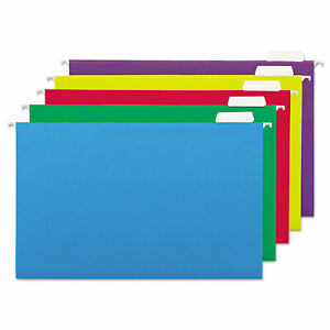 Universal Hanging File Folders 1 5 Tab 11 Point Legal Assorted Colors 25 box