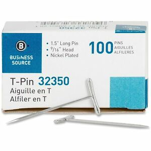Business Source T pins 9 16 Head Width 1 1 2 L 100 bx Silver 32350