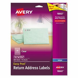 Avery Clear Easy Peel Mailing Labels Inkjet 1 2 X 1 3 4 800 pack 18667