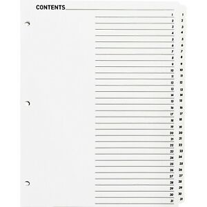 Business Source Index Dividers W toc Page 1 31 31 Tab st 11 x8 1 2 White 05859