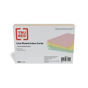 Staples 4 X 6 Line Ruled Assorted Pastel Index Cards 100 pack 51015 730755