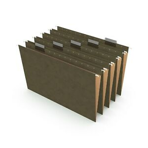 Staples Recycled Reinforced Hanging File Folders 5 tab Lgl Std Gn 25 bx 726595