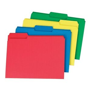 Staples Colored Top tab File Folders 3 Tab Assorted Colors Letter Size 24 pk