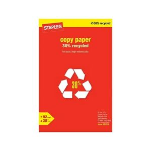 Staples 30 Recycled 11x17 Paper 20 Lbs 92 Bright 500 rm 112390 581761