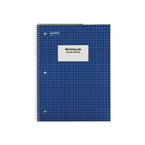 Staples 1 subject Notebook 8 X 10 5 Graph Ruled 70 Sheets Blue 23985b 132712