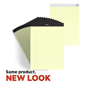 Staples Perf Note Pads Wide letter Ruled Yellow 8 1 2 X 11 3 4 12 pk Tr57300