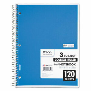 Mead Spiral Bound Notebook Perforated College Rule 11 X 8 1 2 White 120 Sheets